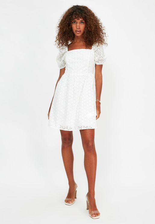 Puff Sleeve Broderie Dress
