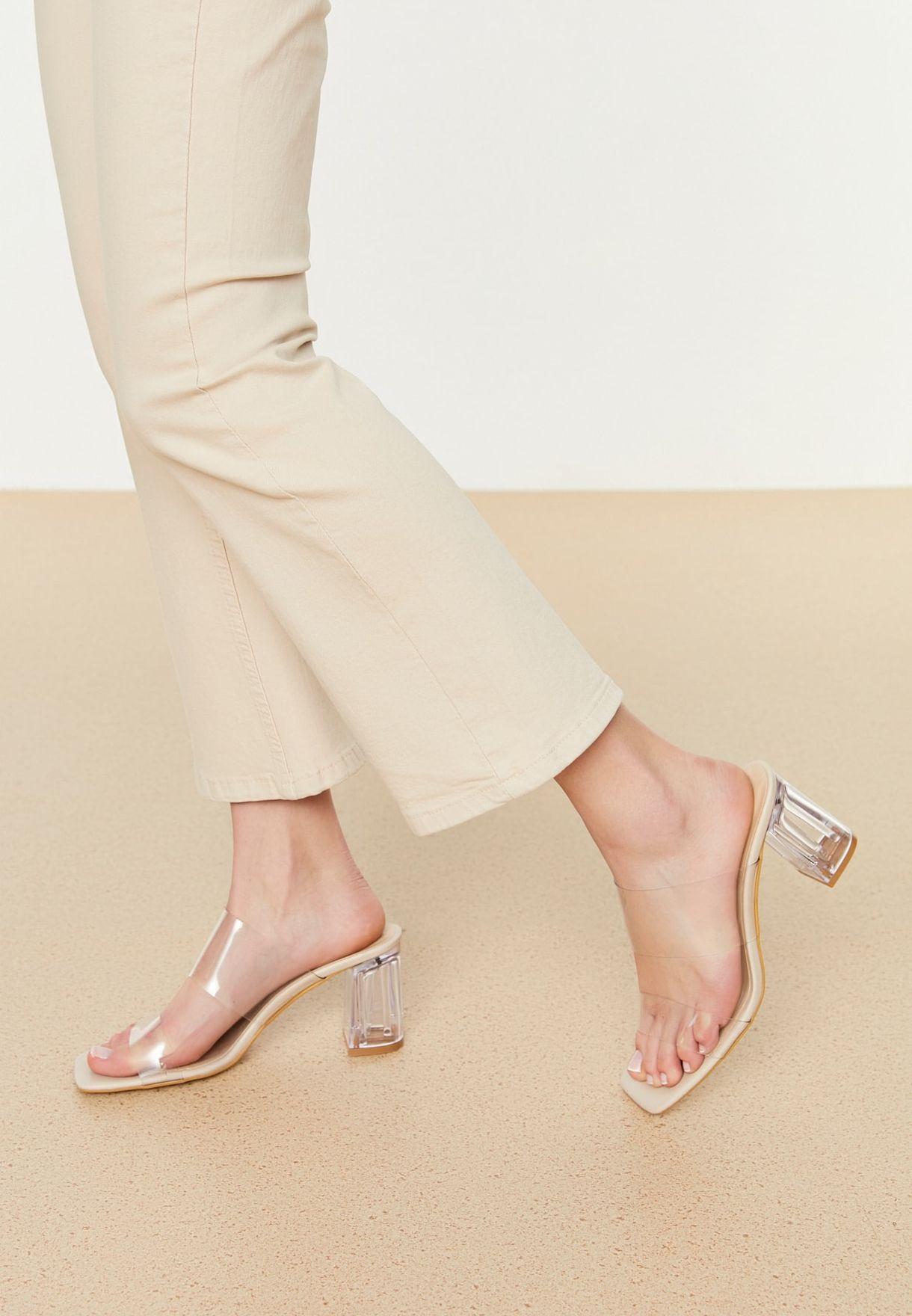 Beige Flat Toe Women'S Slippers