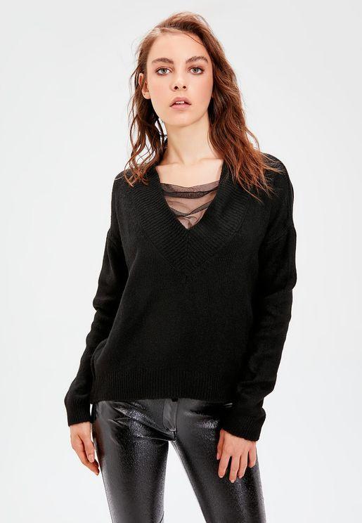 Mesh Detail V-Neck Sweater