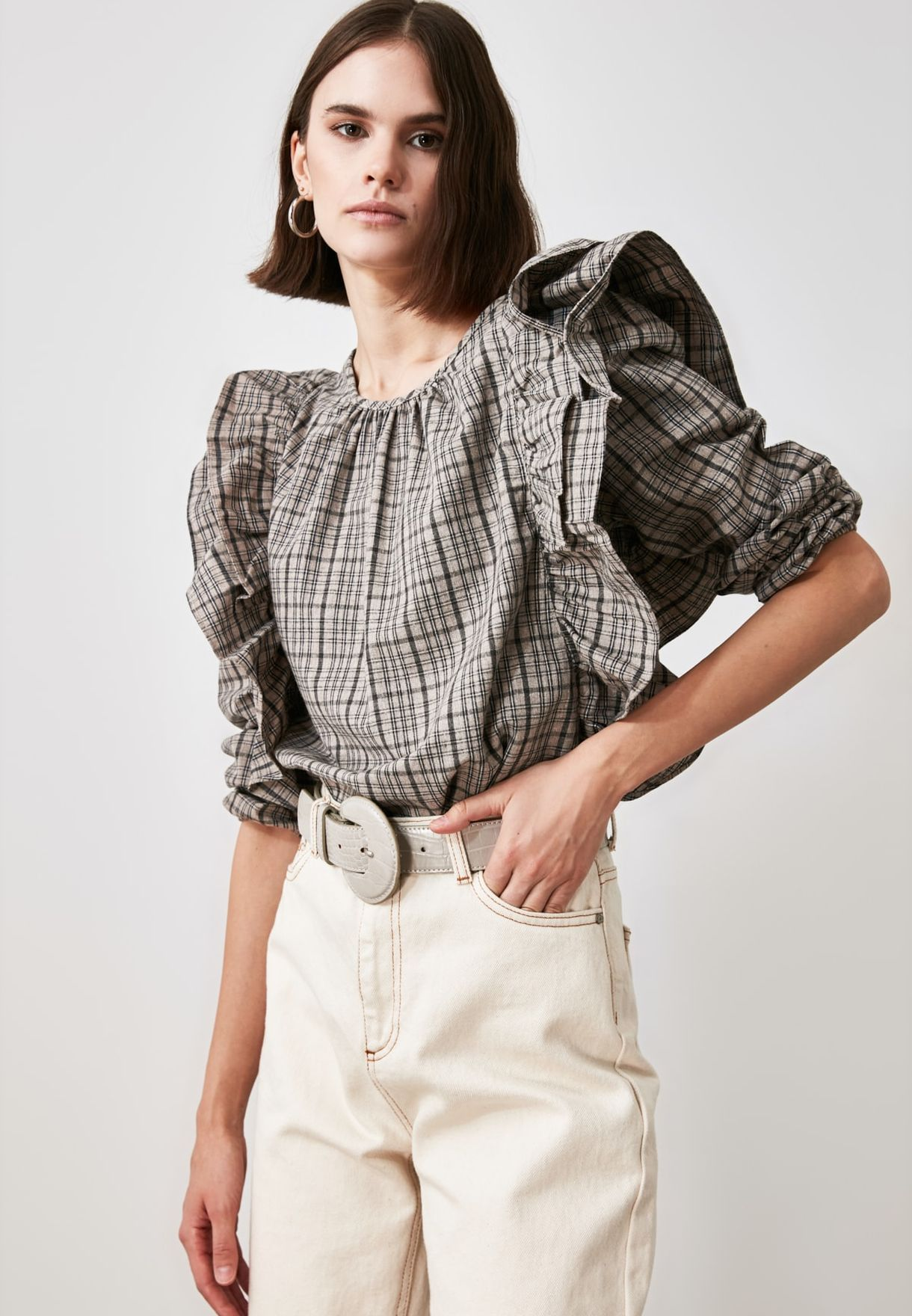 Ruffle Detail Pleated Top