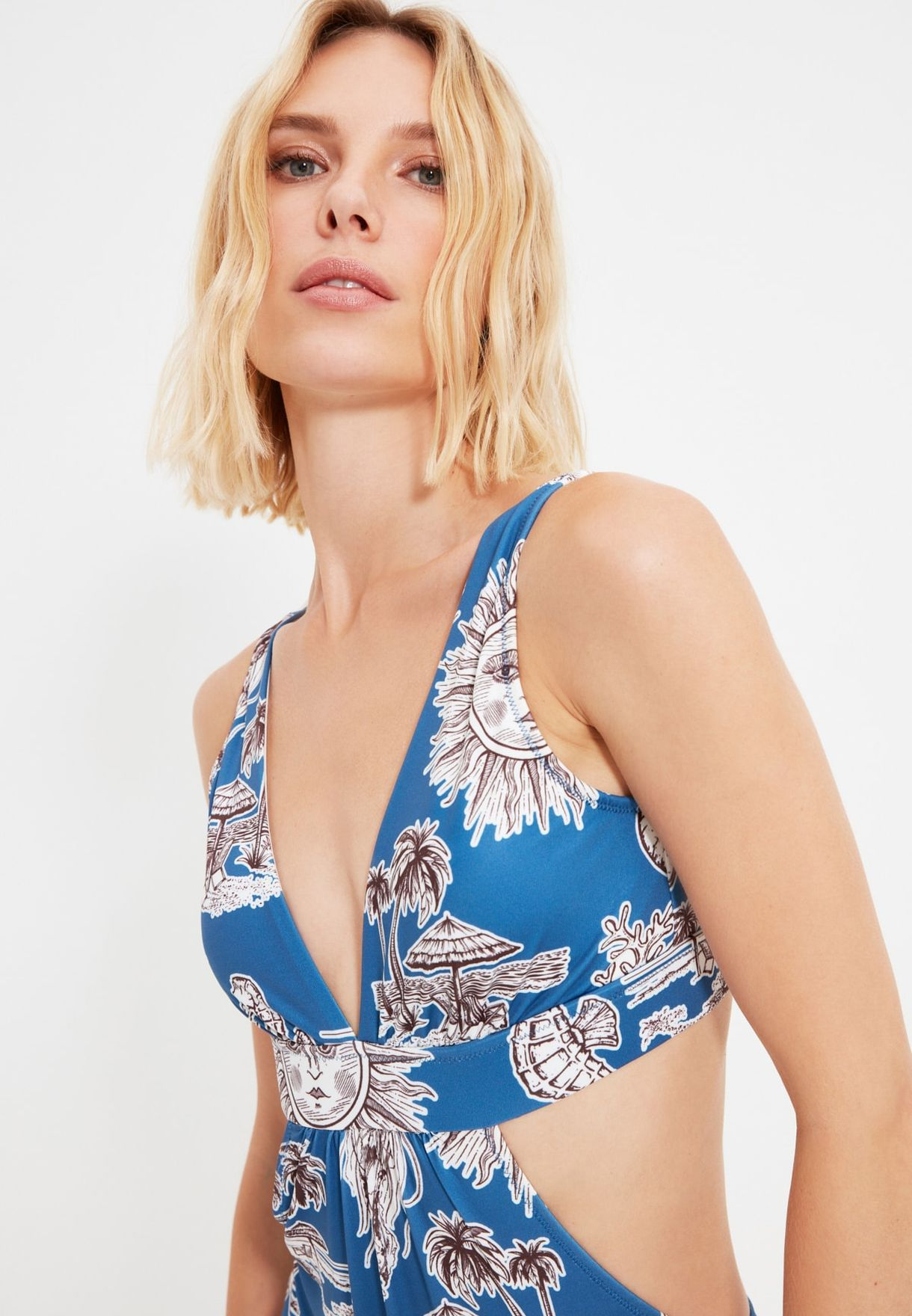 Printed Cut Out Swimsuit