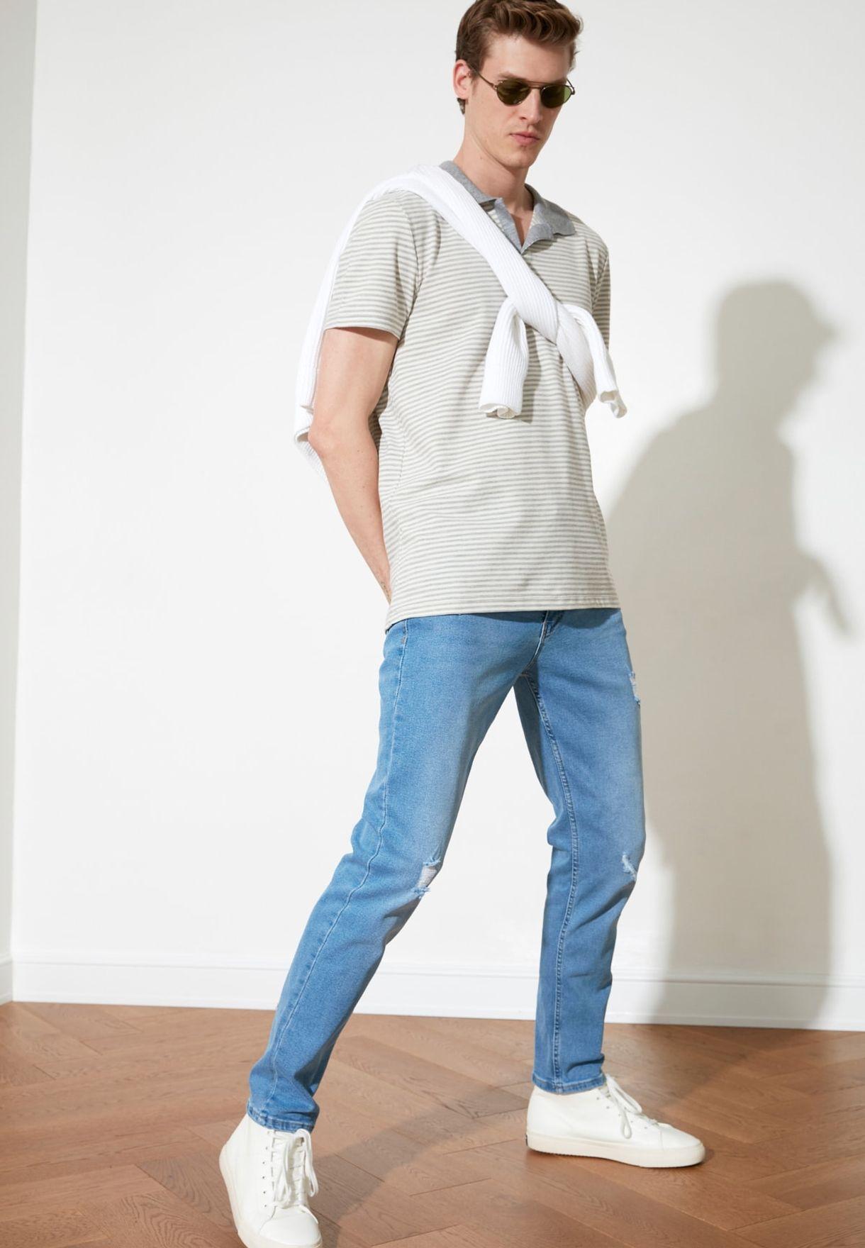 Destroyed Slim Fit Jeans