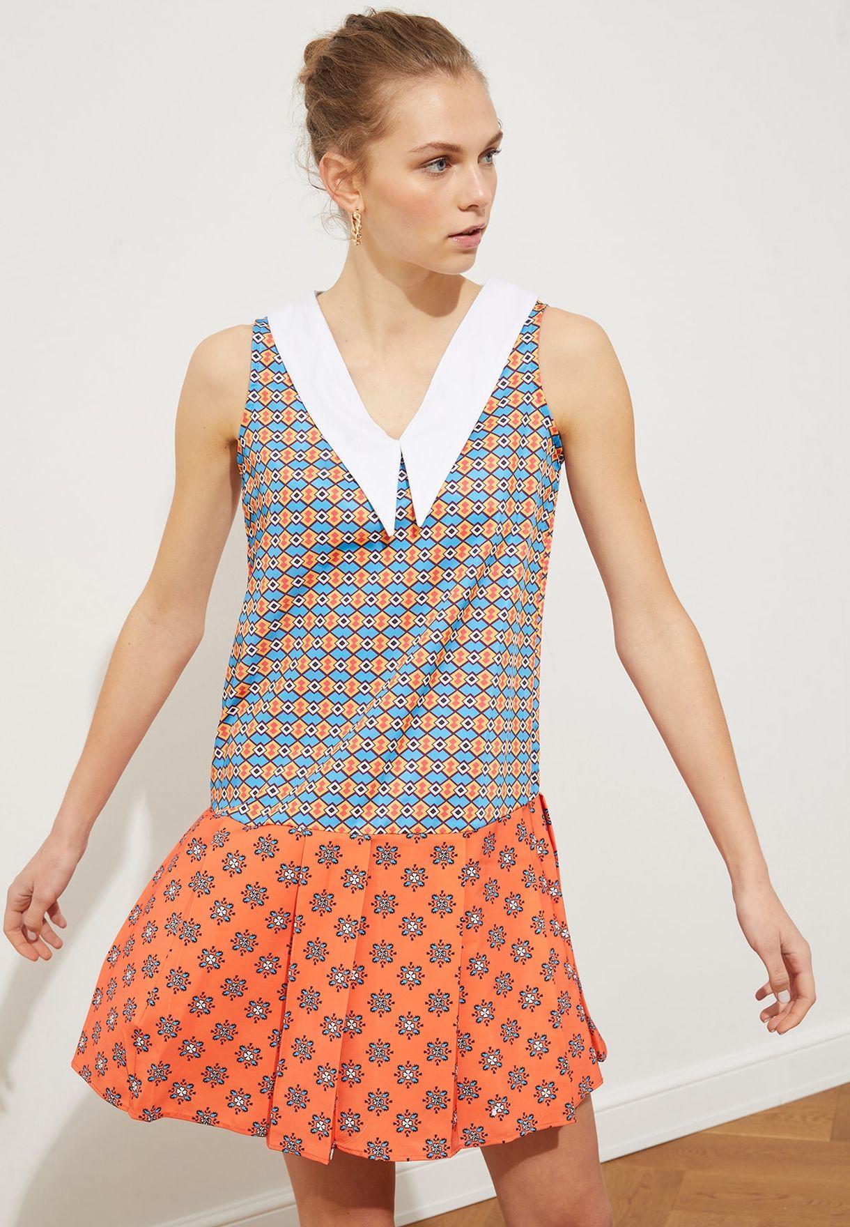 Pleated Hem Printed Dress
