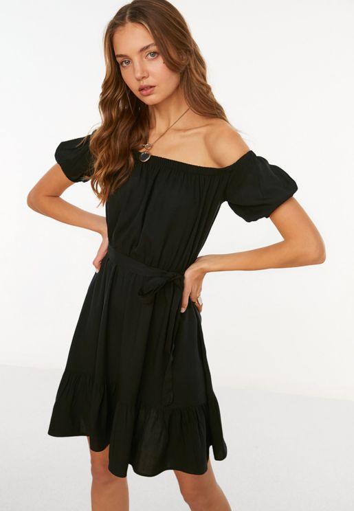 Ruffle Hem Bardot Dress