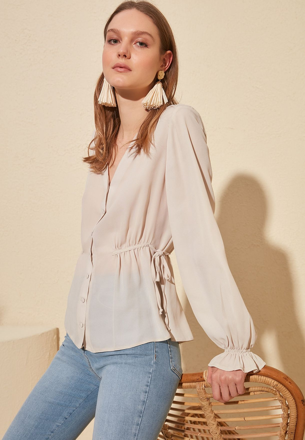 Side Tie Button Down Top