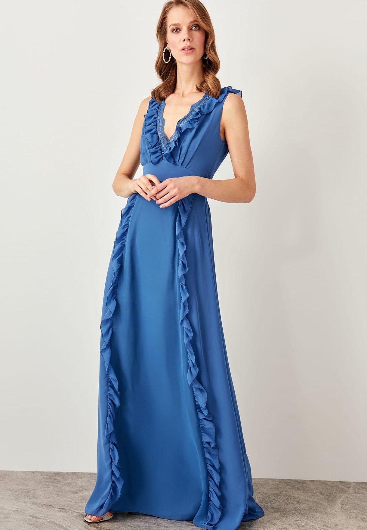 Plunge Neck Frill Detail Dress