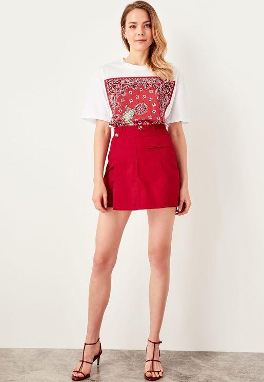 Button Detail Wrap Mini Skirt