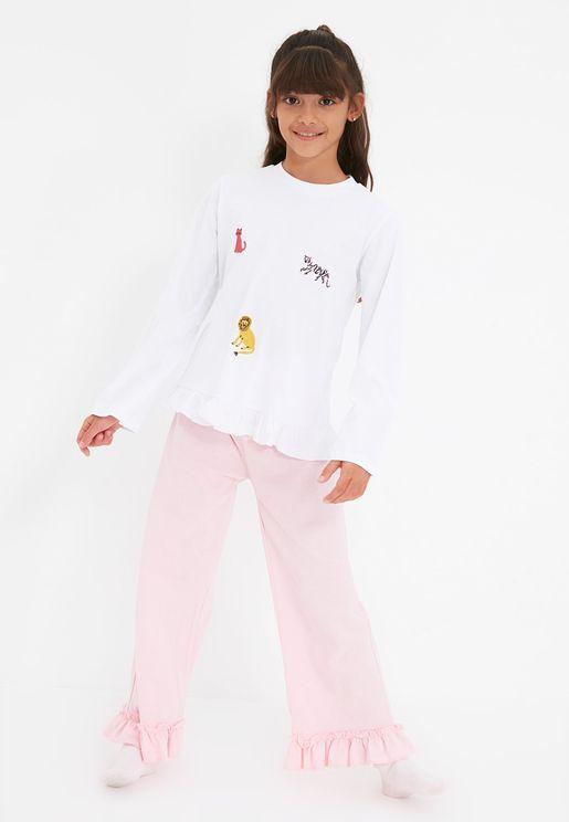 Kids Ruffle Detail Pyjama Set