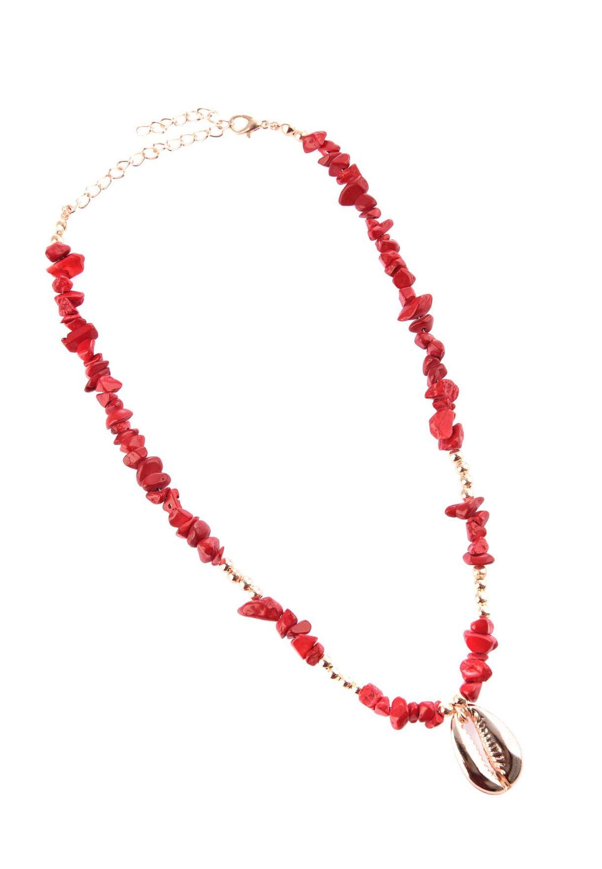 Burgundy Sea Stone Necklace