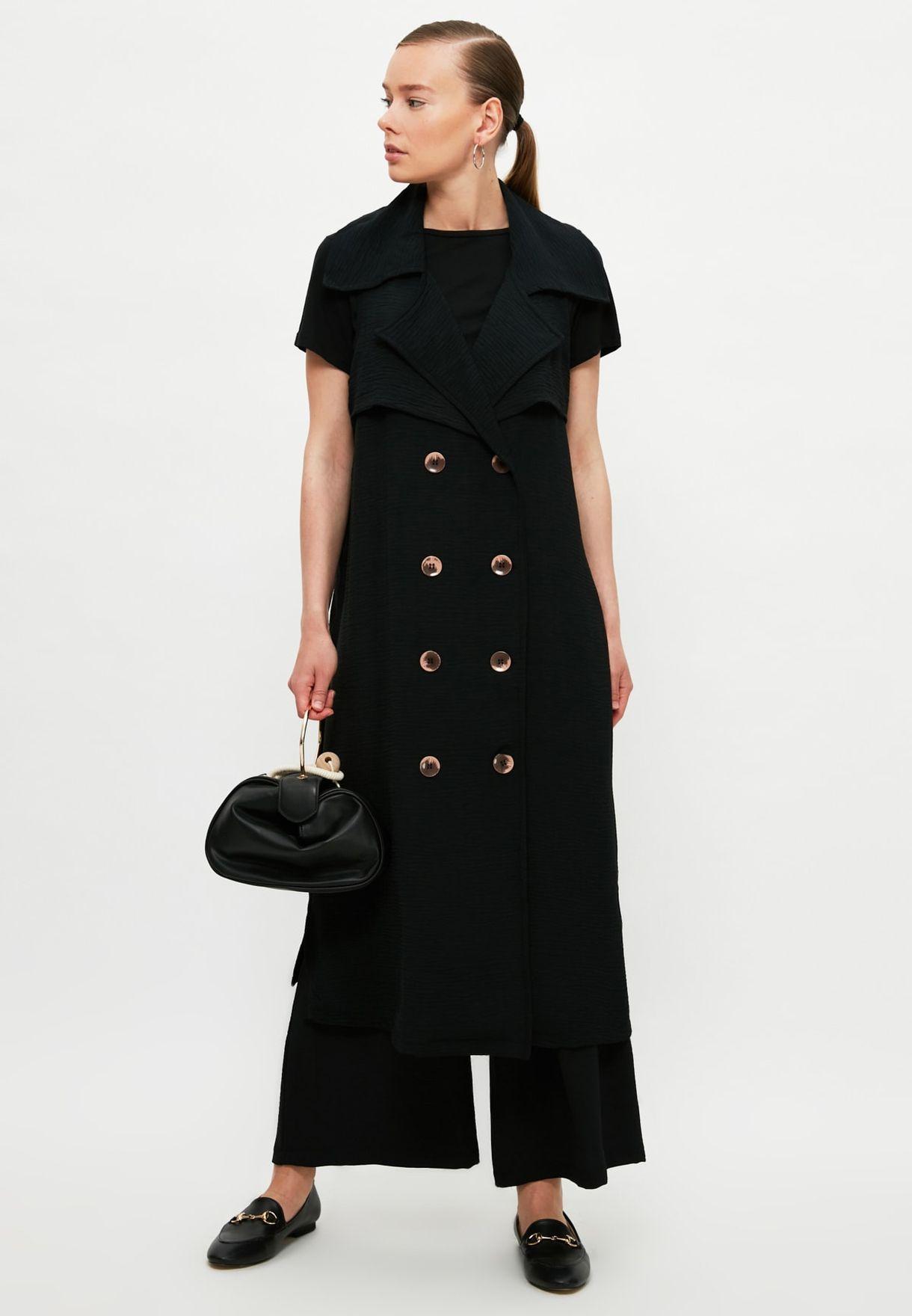 Lace Up Detail Longline Coat