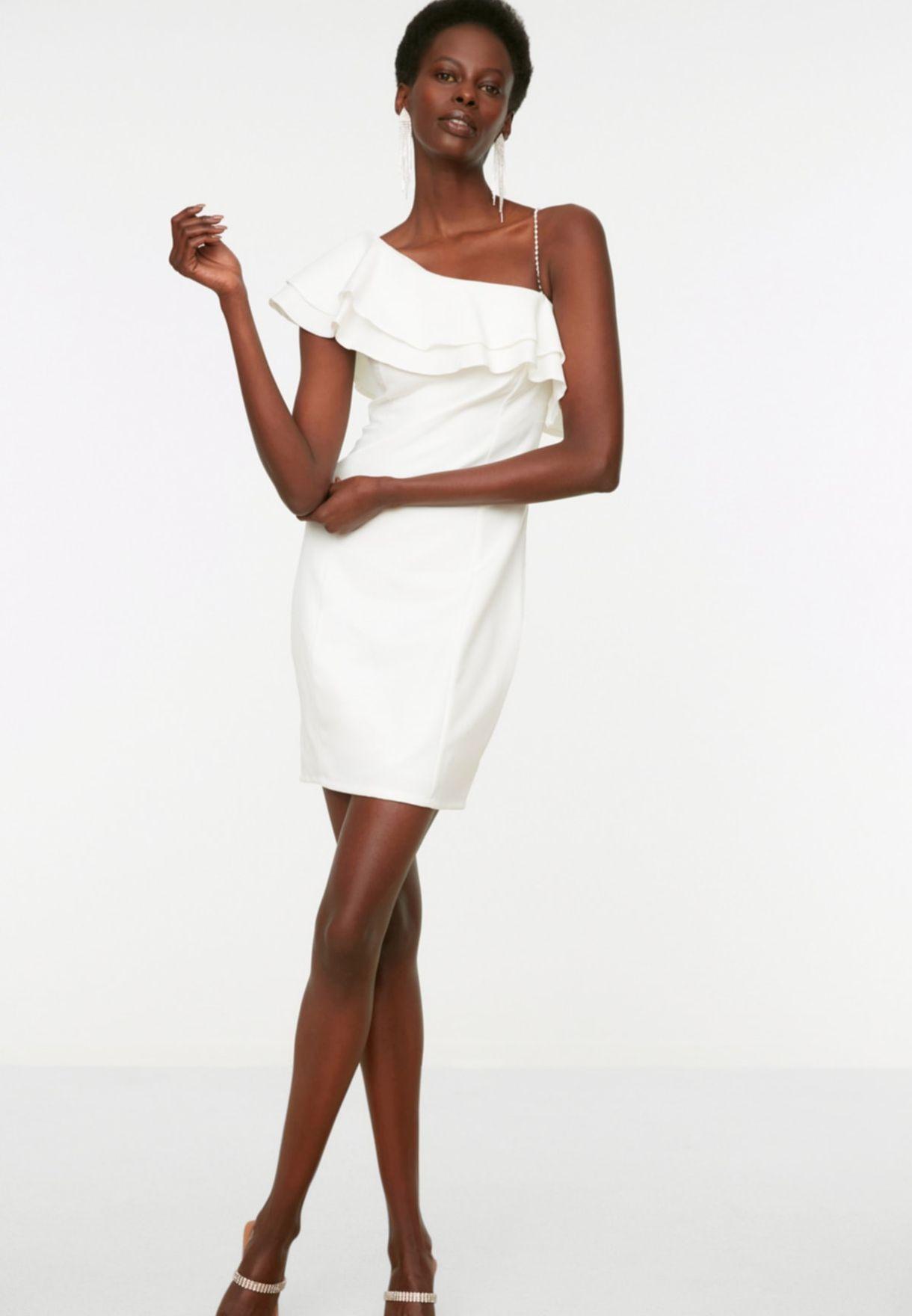 Ruffle Detail One Shoulder Dress