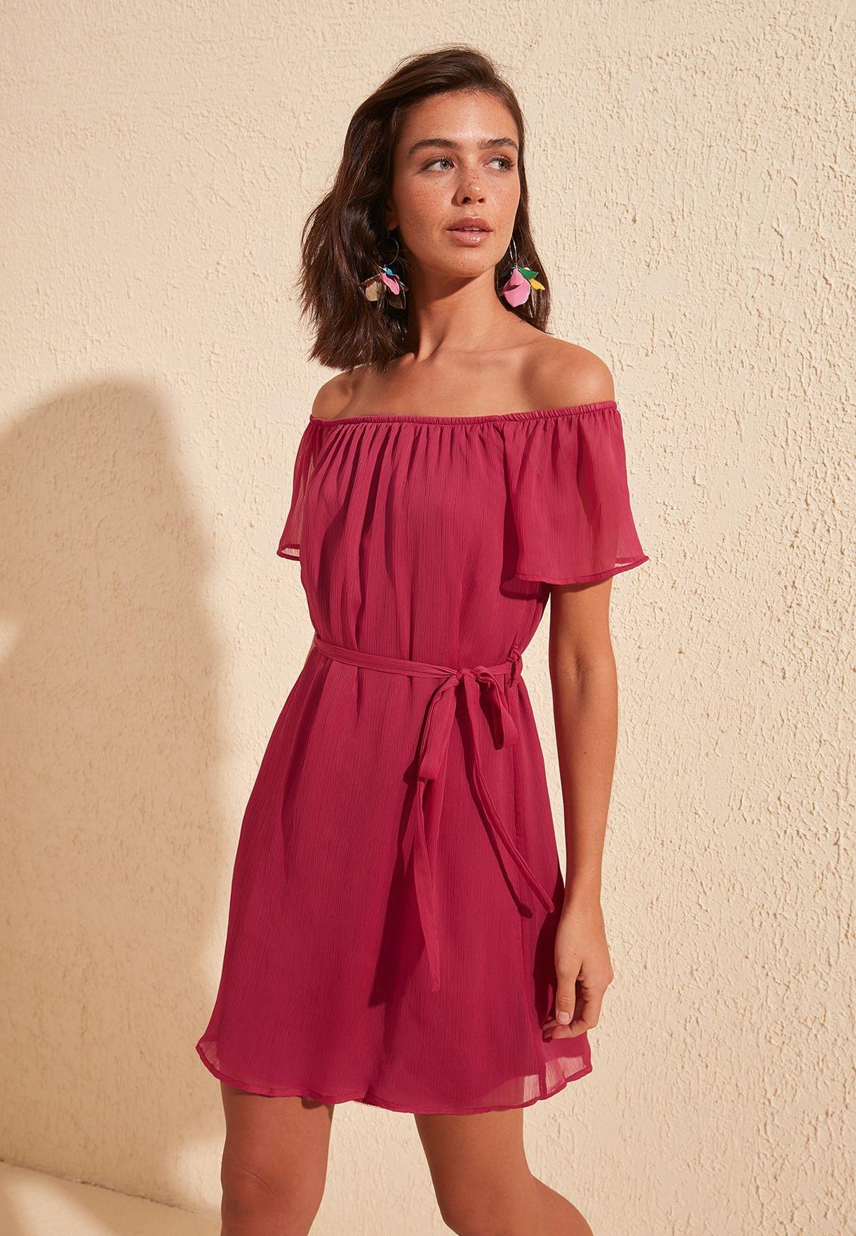 Sheer Sleeve Bardot Dress