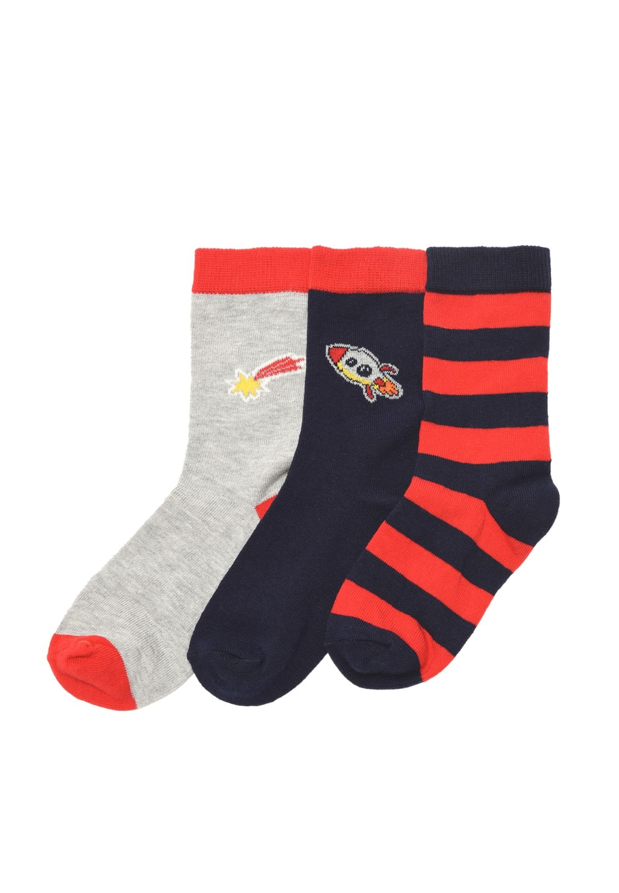 Kids 3 Pack Assorted Crew Socks