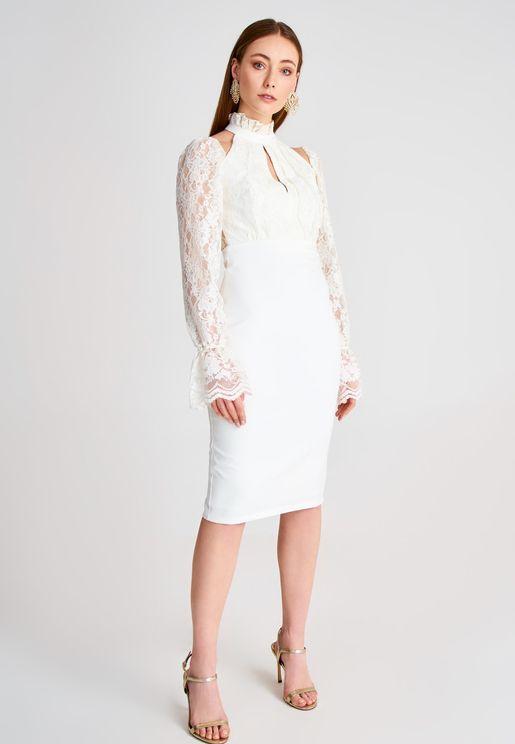 High Neck Lace Detail Cut Out Dress