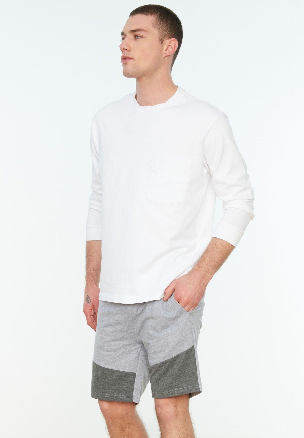 Color Block Drawstring Shorts