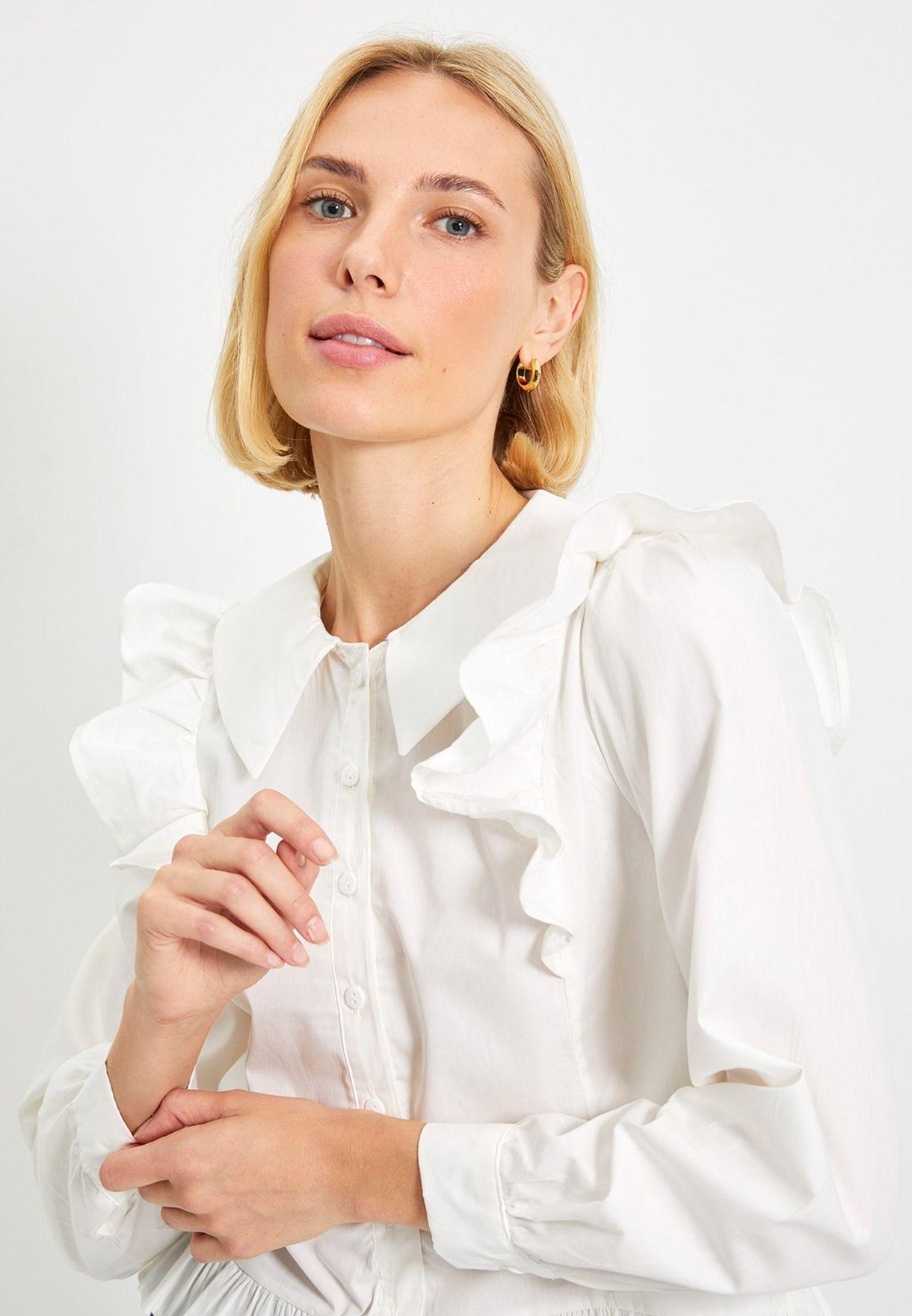 Ruffle Detail Button Down Shirt
