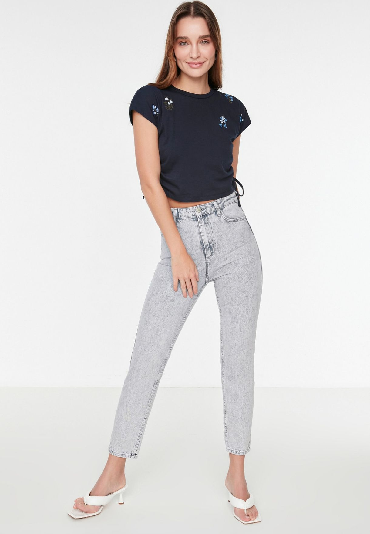 Embroidered Crop Knitted T-Shirt