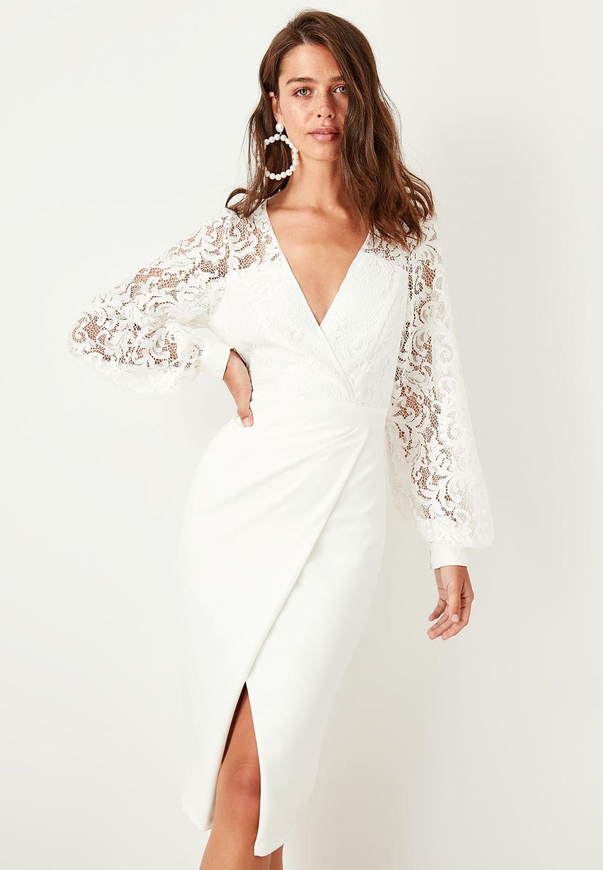 Lace Detail Wrap Dress