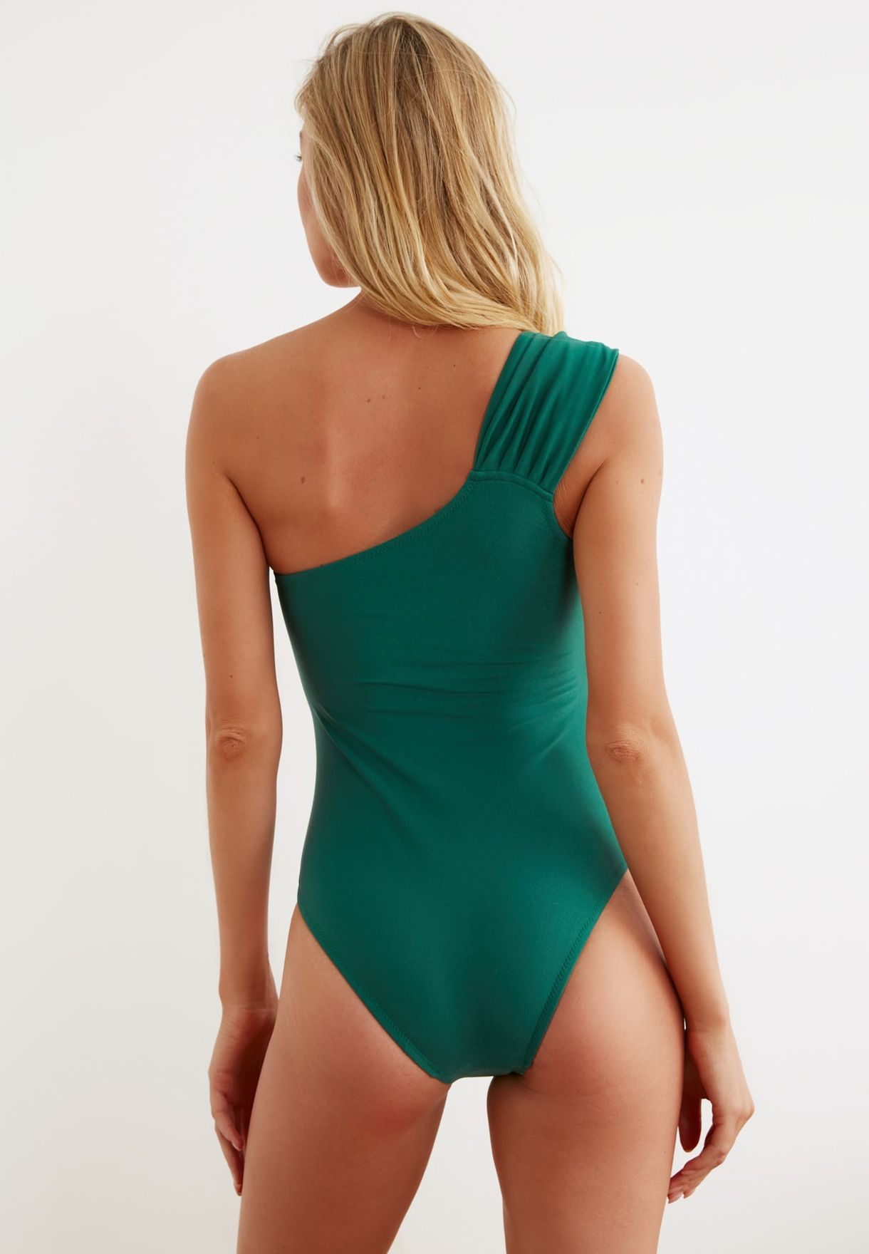 Ring Detail One Shoulder Swimsuit