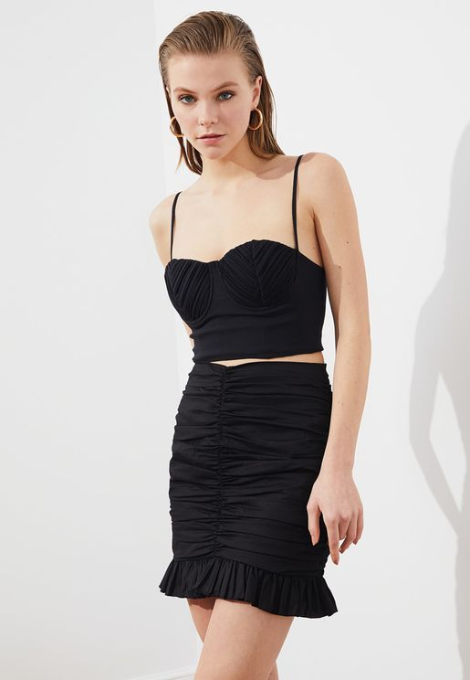 Ruched Detail Mini Skirt
