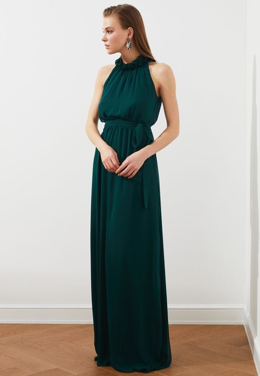 Pleat Detail Halter Neck Dress