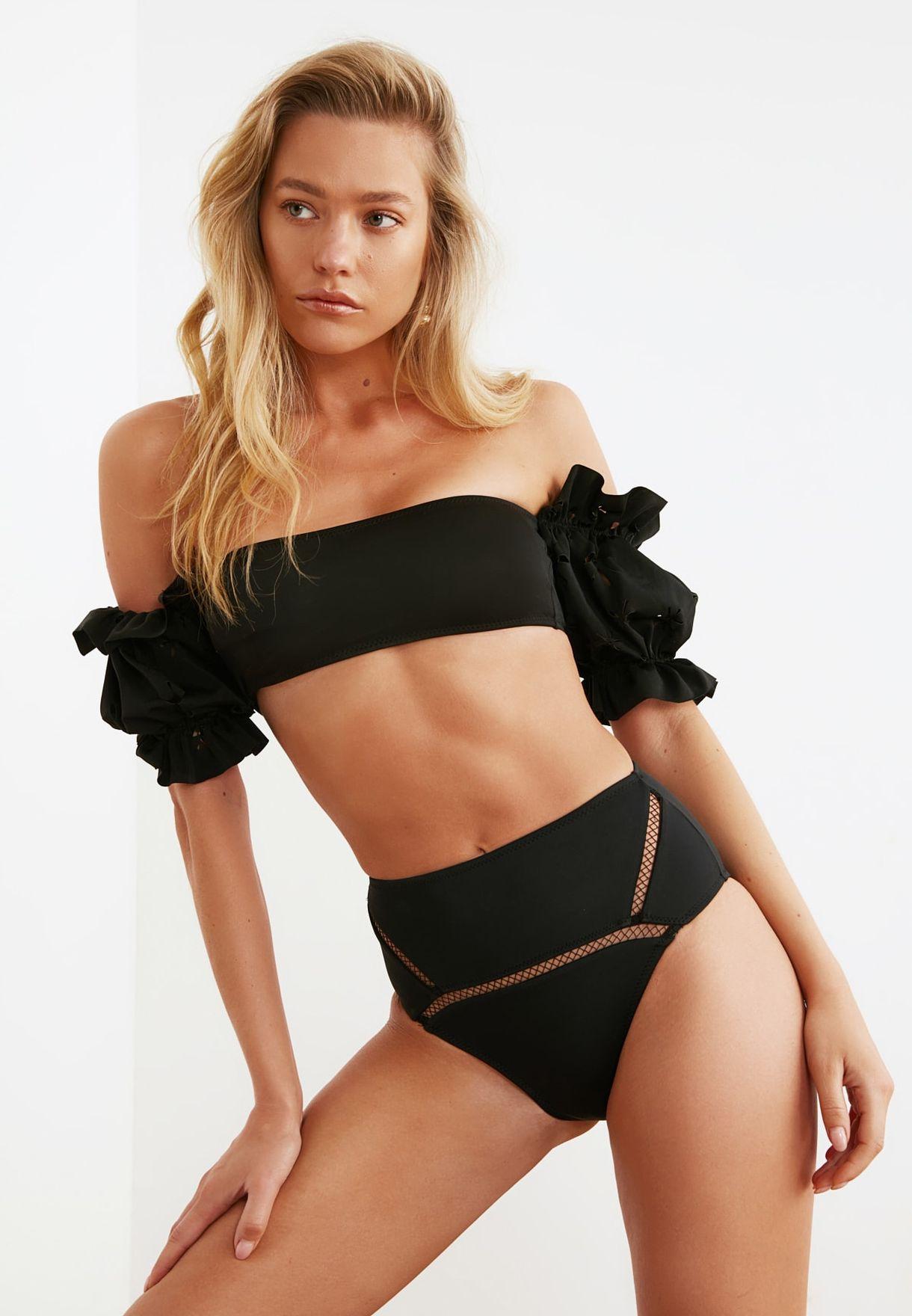 Mesh Detail High Waist Bikini Bottom