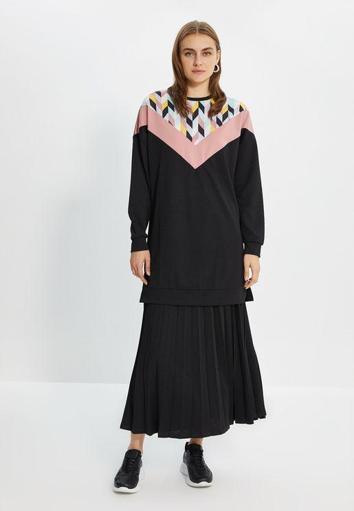 Knitted Sweatshirt & Skirt Set
