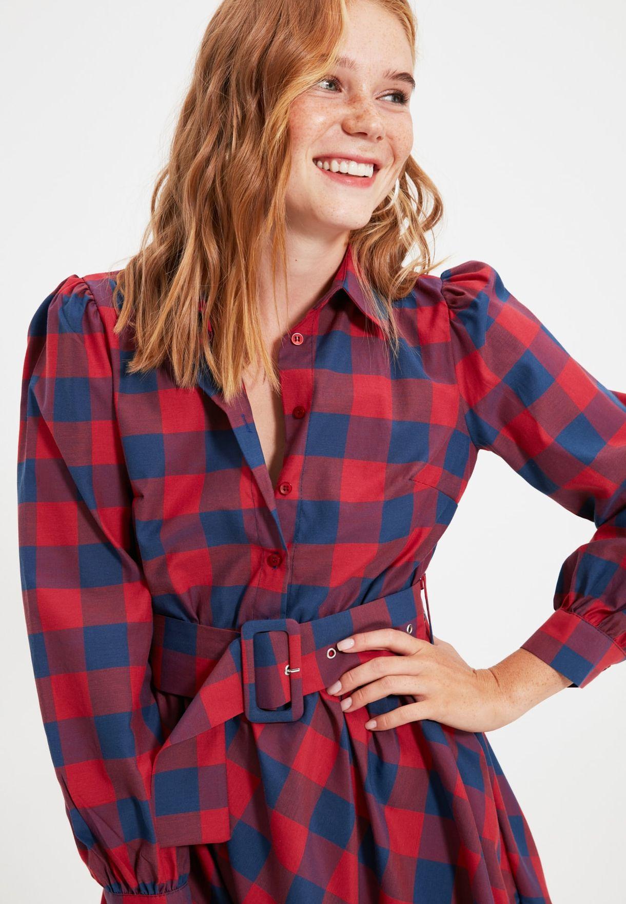 Plaid Placket Dress
