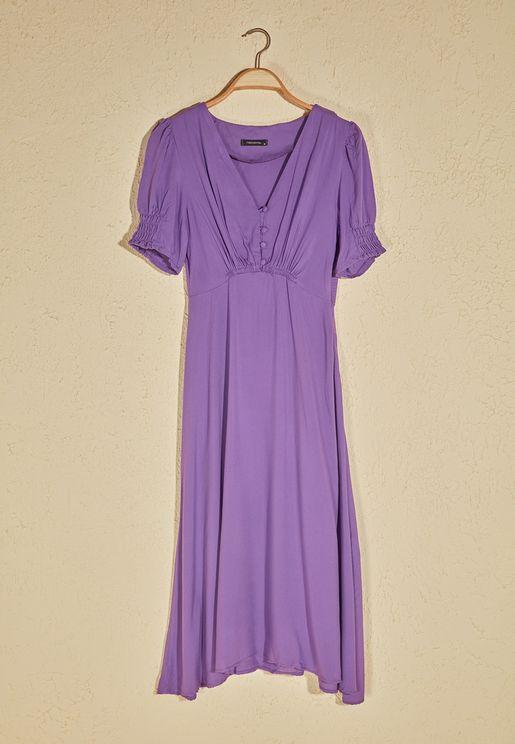 Button Detail  V-Neck Dress