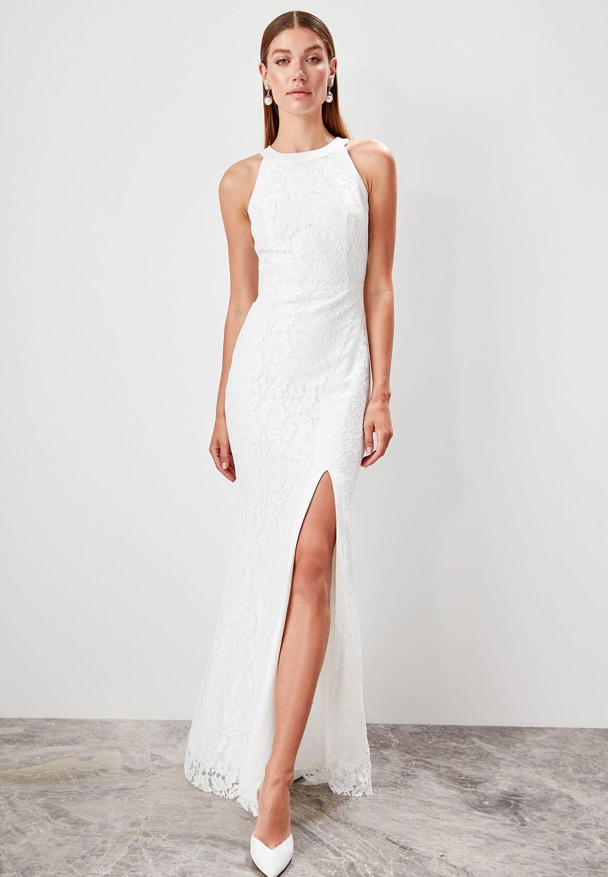Front Slit Lace Maxi Dress