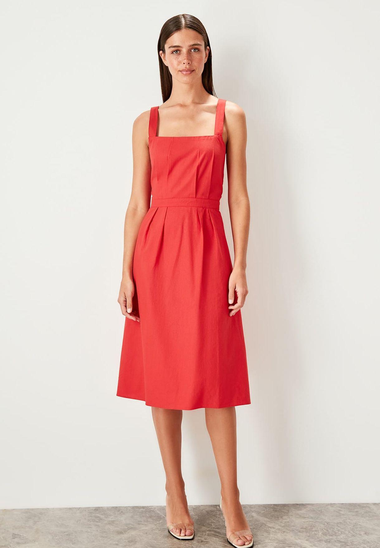 Square Neck Pleated Trim Dress