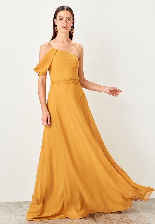 One Shoulder Plisse Waist Dress