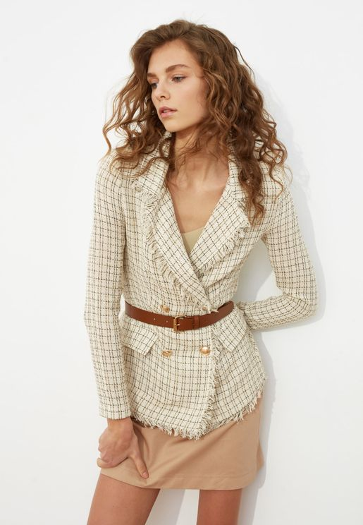 Checked Double Breasted Coat
