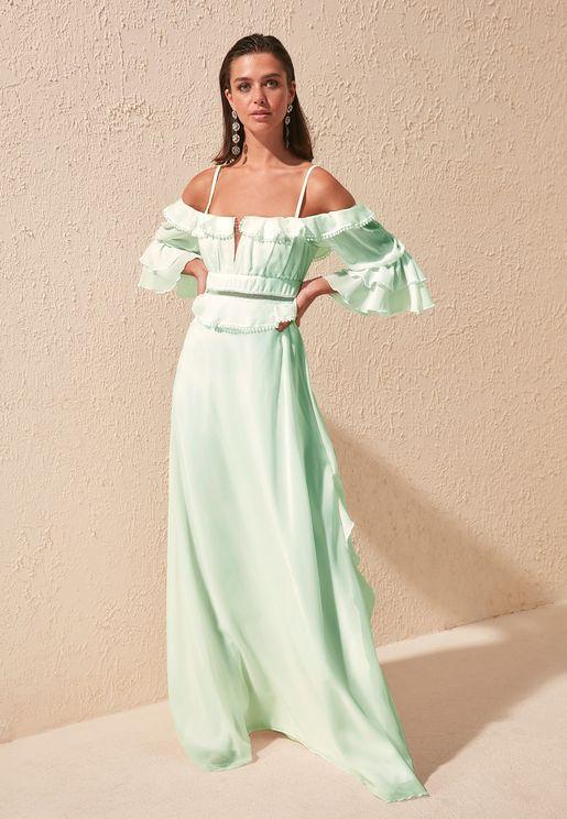 Ruffle Trim Bardot Dress