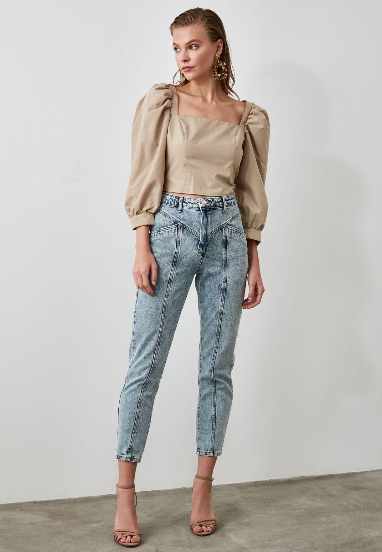جينز مام بخصر عالي