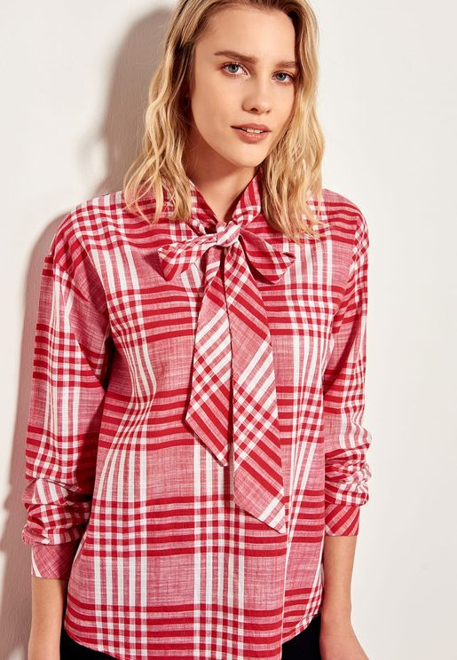 Tie Neck Checked Shirt