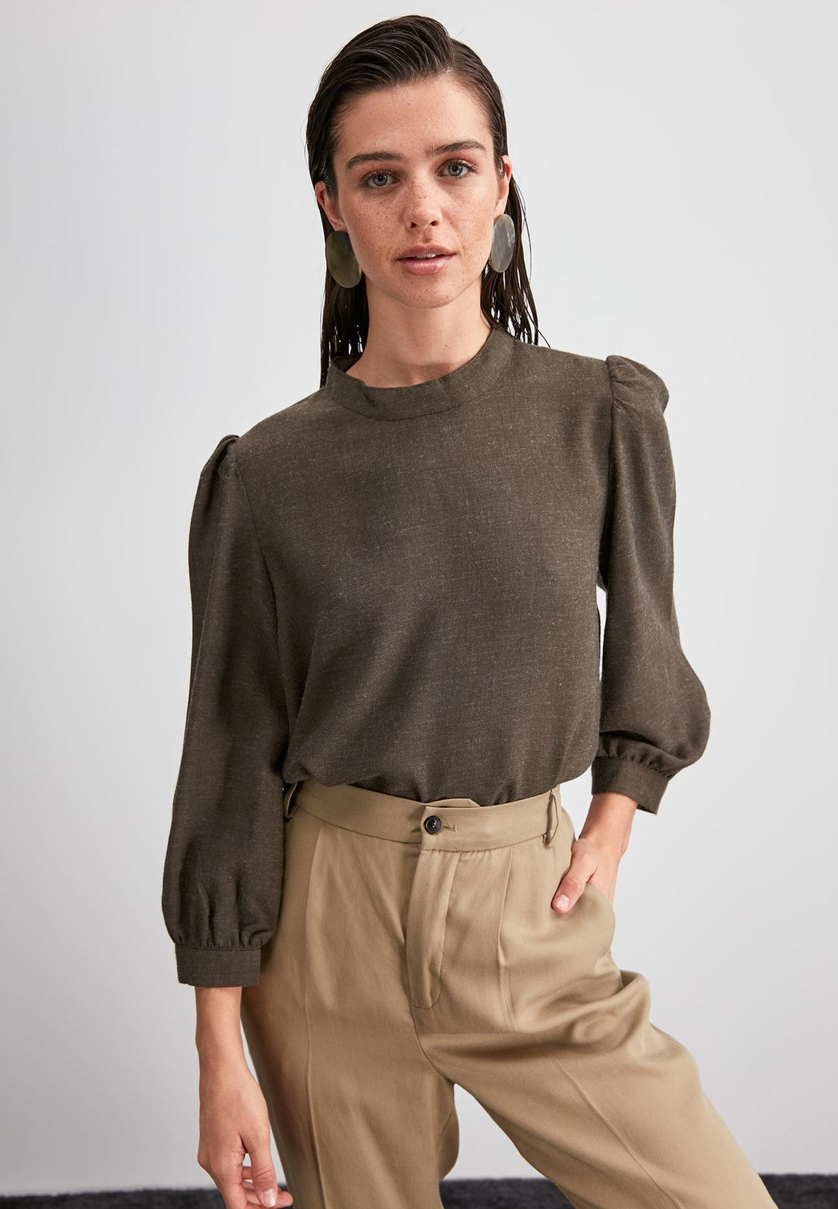 High Neck Texture Top