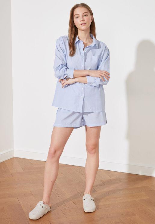 Striped Shirt & Shorts Set