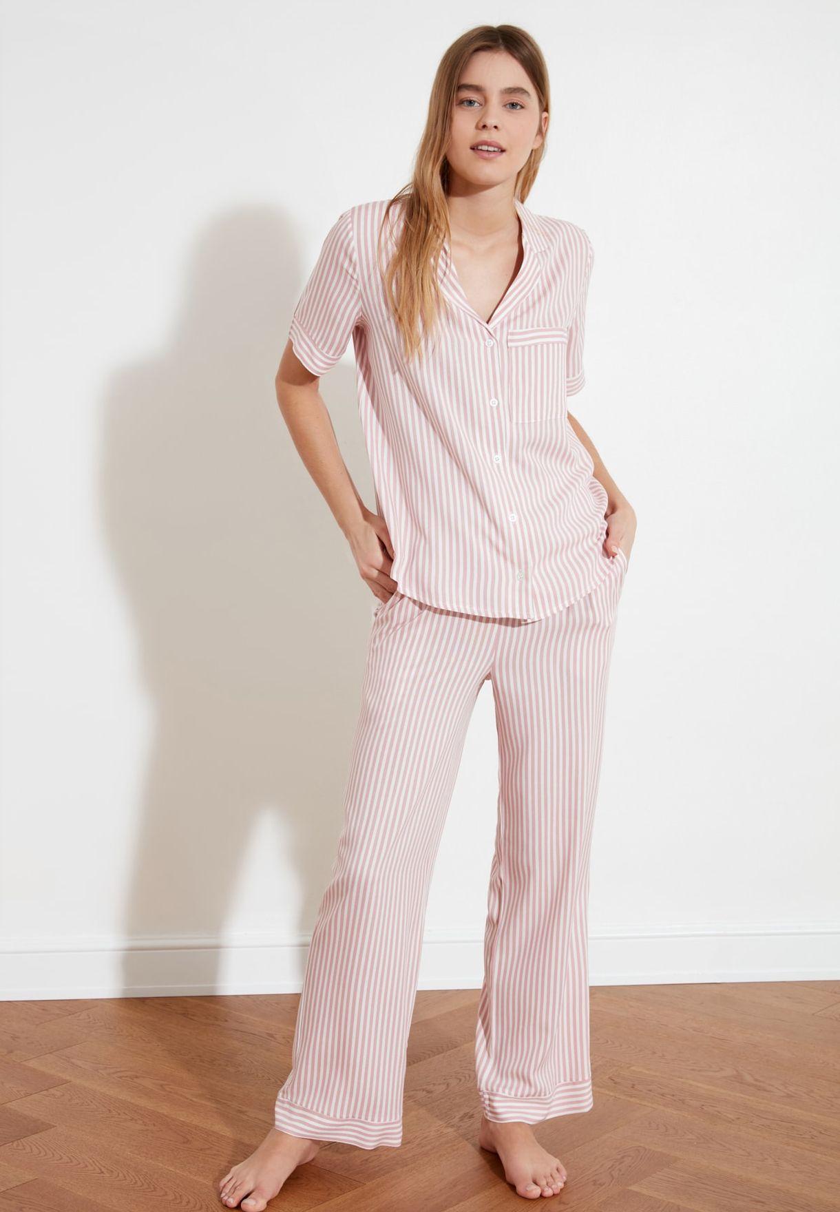 Striped Shirt & Pyjama Set