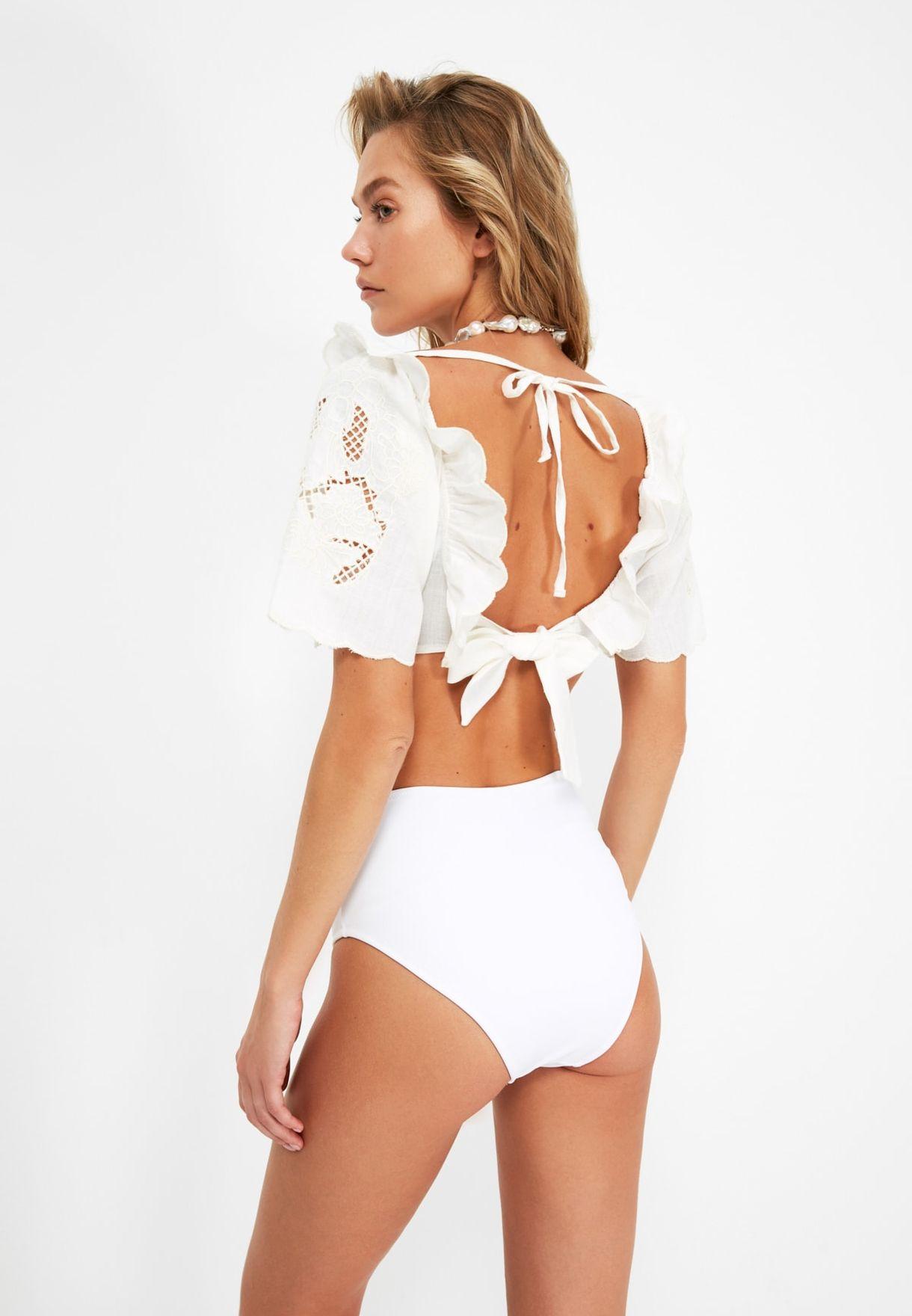 Embroidered Crop Bikini Top