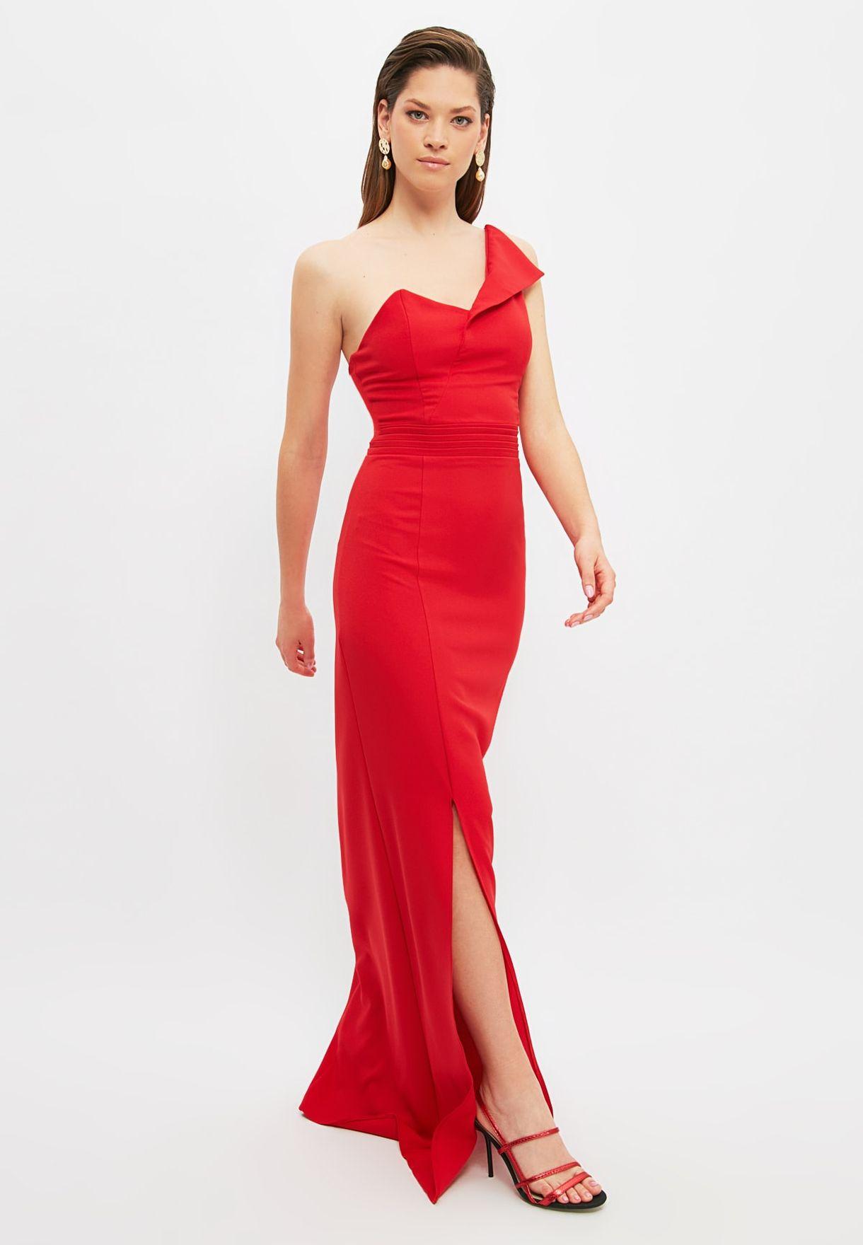 One Shoulder Front Split Dress