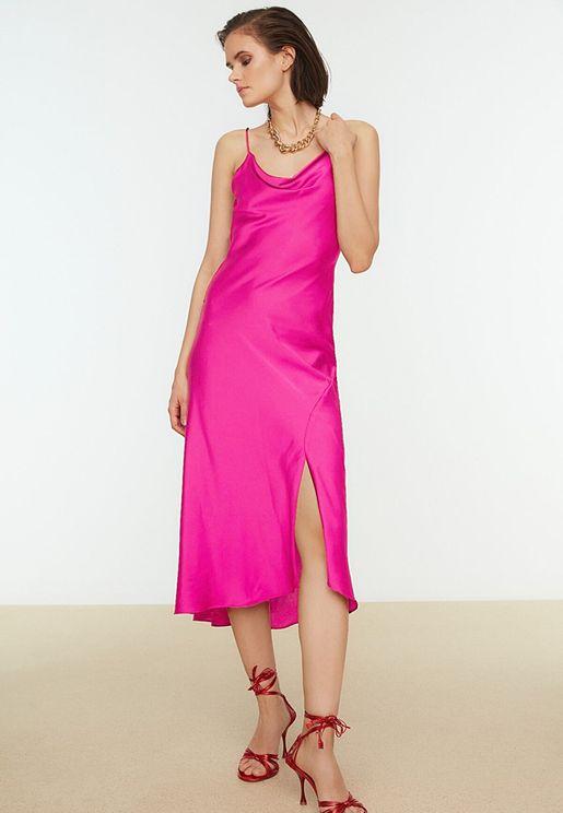 Front Split Cowl Neck Dress
