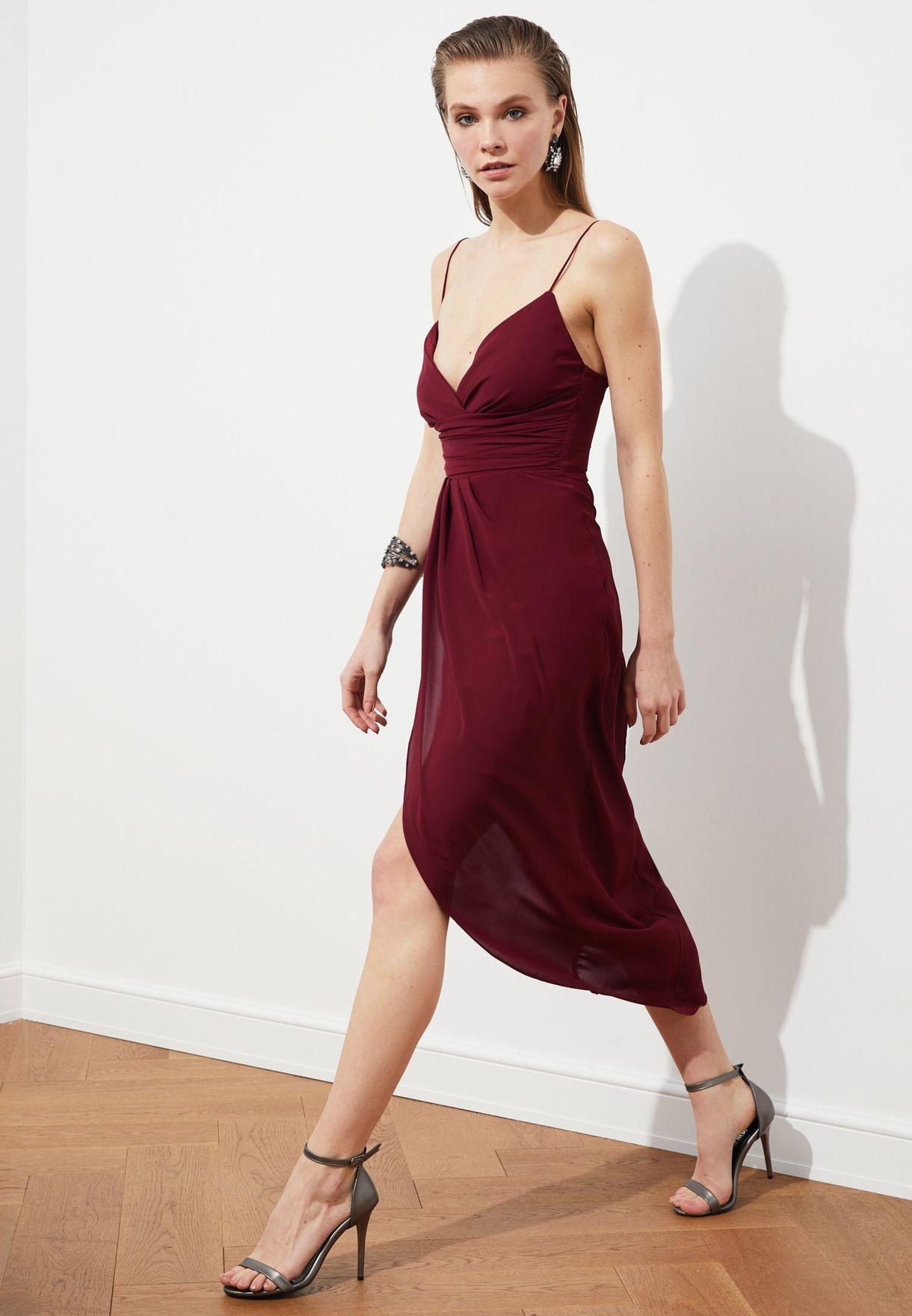 Front Split Plunge Dress