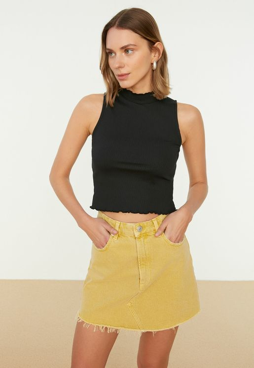 High Neck Ribbed Crop Top