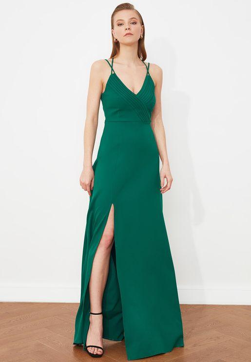 Front Split Pleated Cami Dress