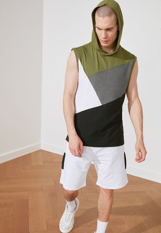Color Block Hooded Vest