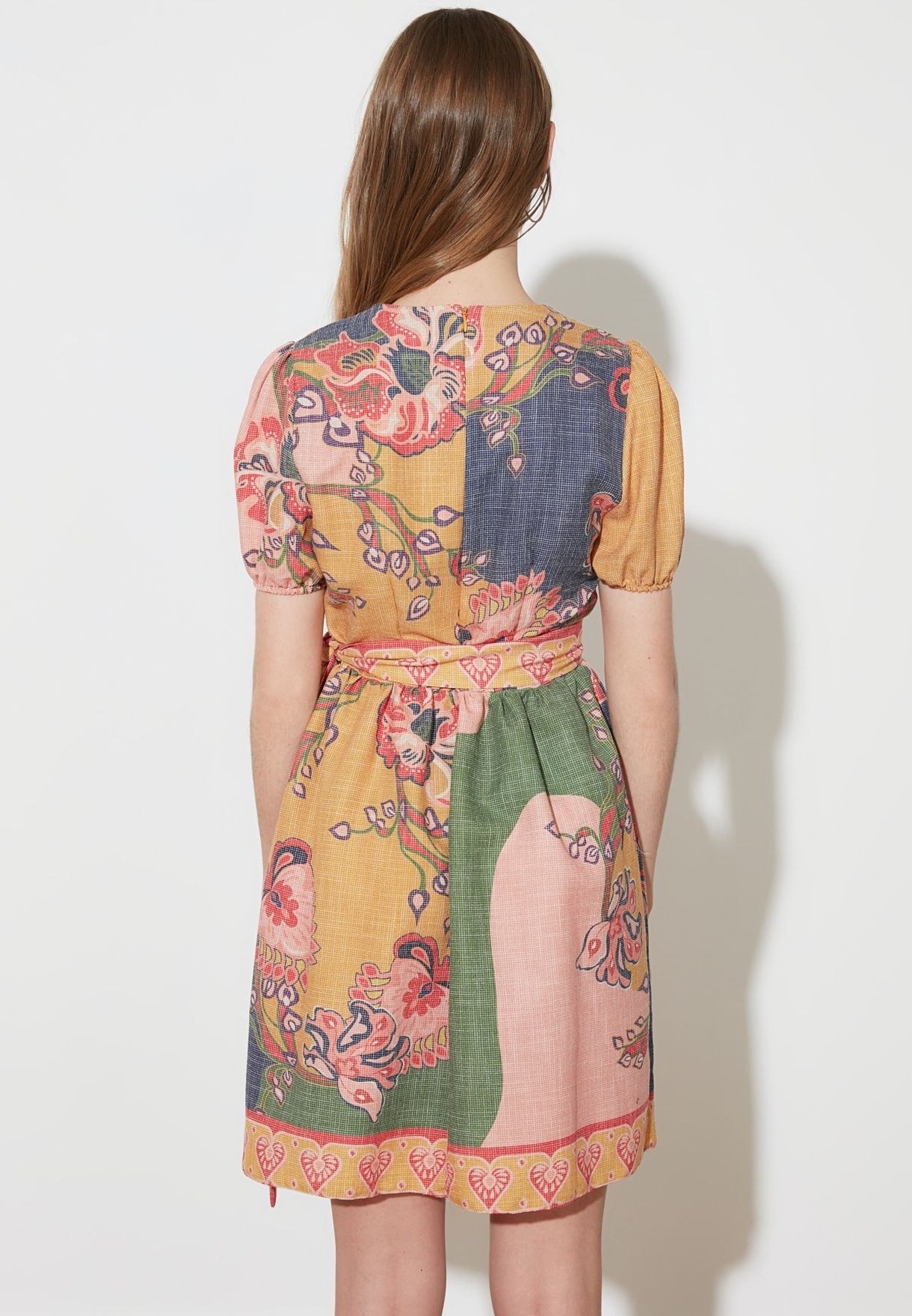 Puff Sleeve Printed Surplice Dress