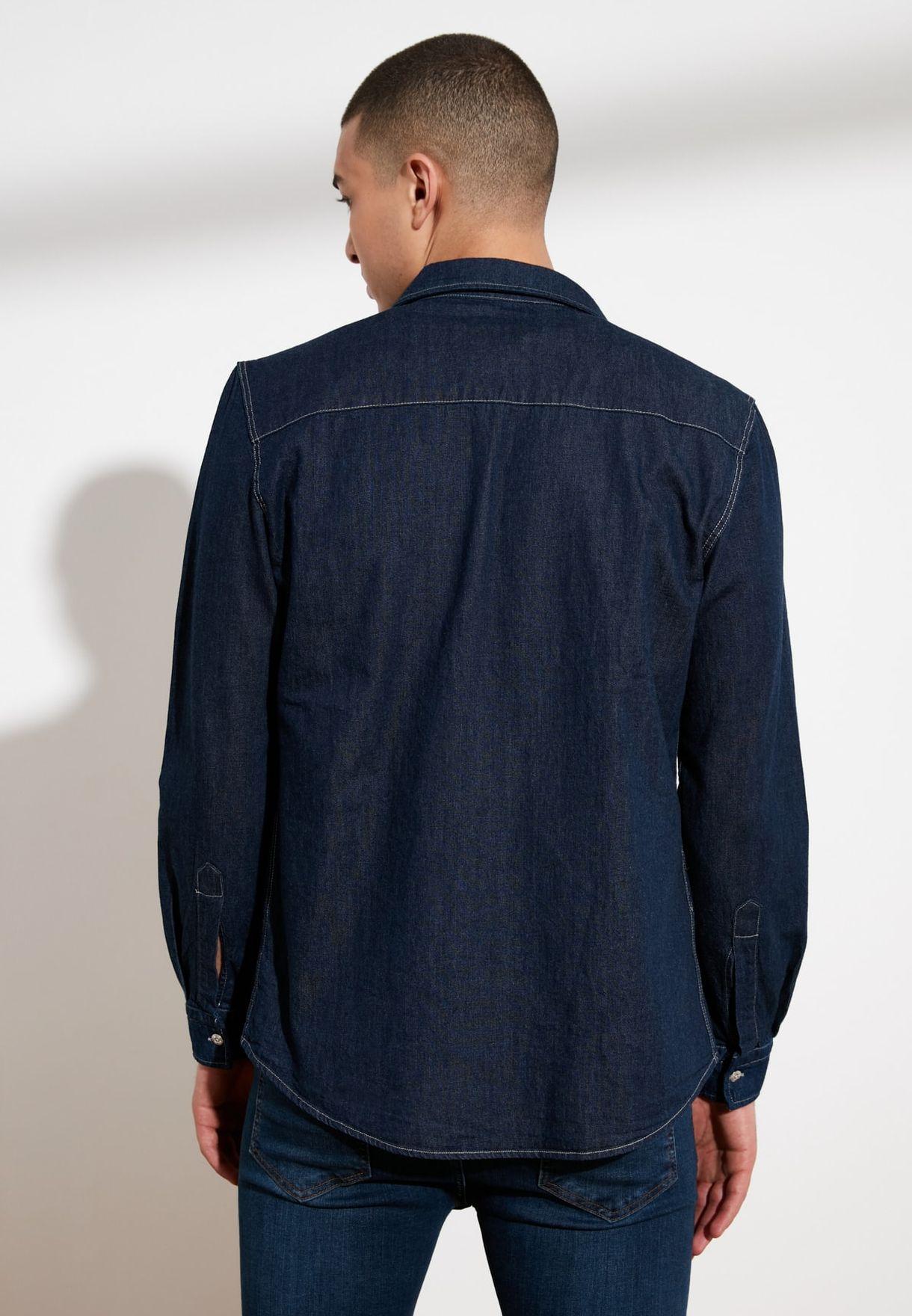Dark Wash Slim Fit Denim Shirt