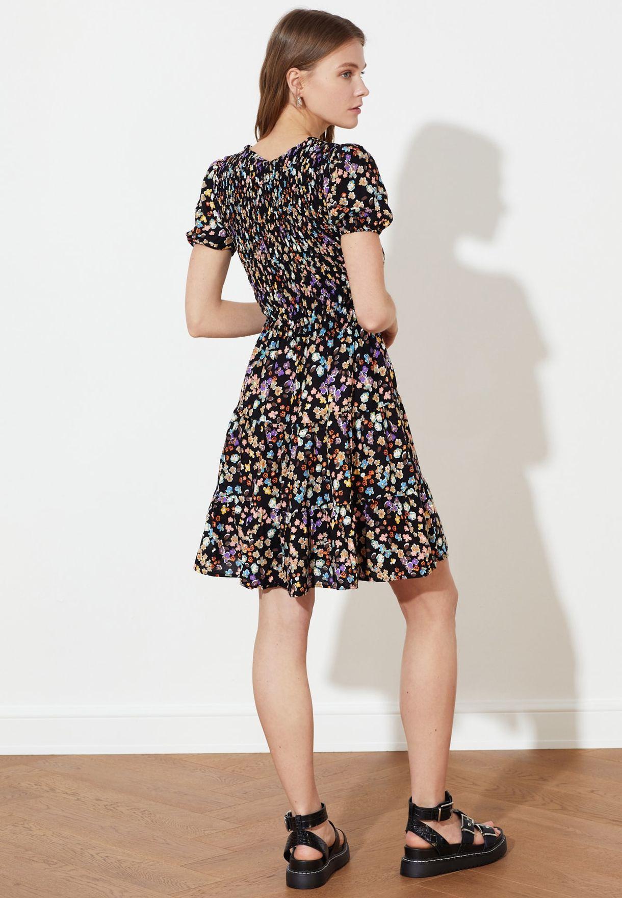Square Neck Printed Dress