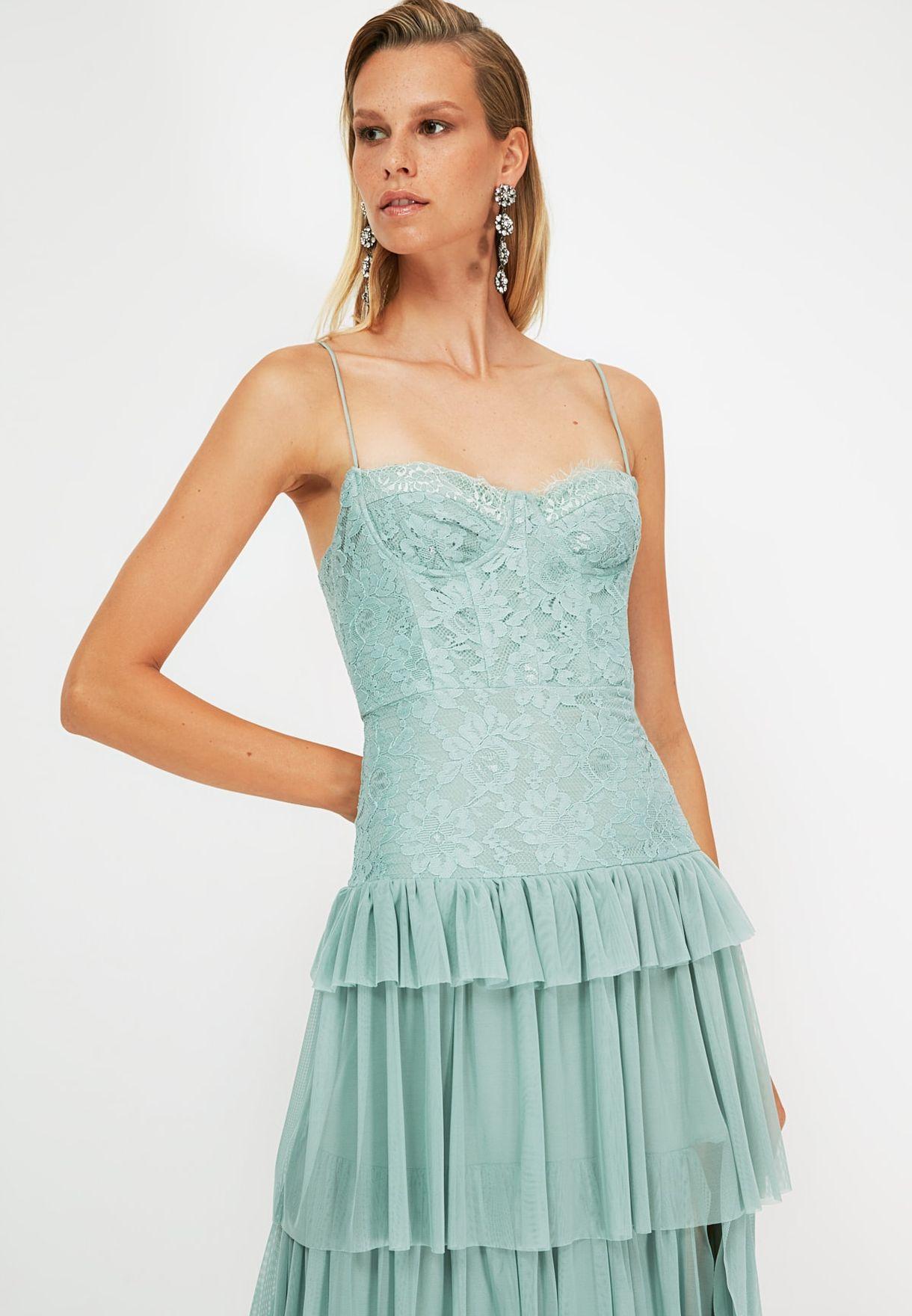 Pleated Lace Detail Bandeau Dress